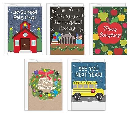 Christmas Cards For Teachers.Teacher Christmas Cards 5 Pack Teacher Holiday Greeting Cards 5 Designs School Christmas Greeting Card Bulk Set 5 Envelopes Included 4 25 X 6