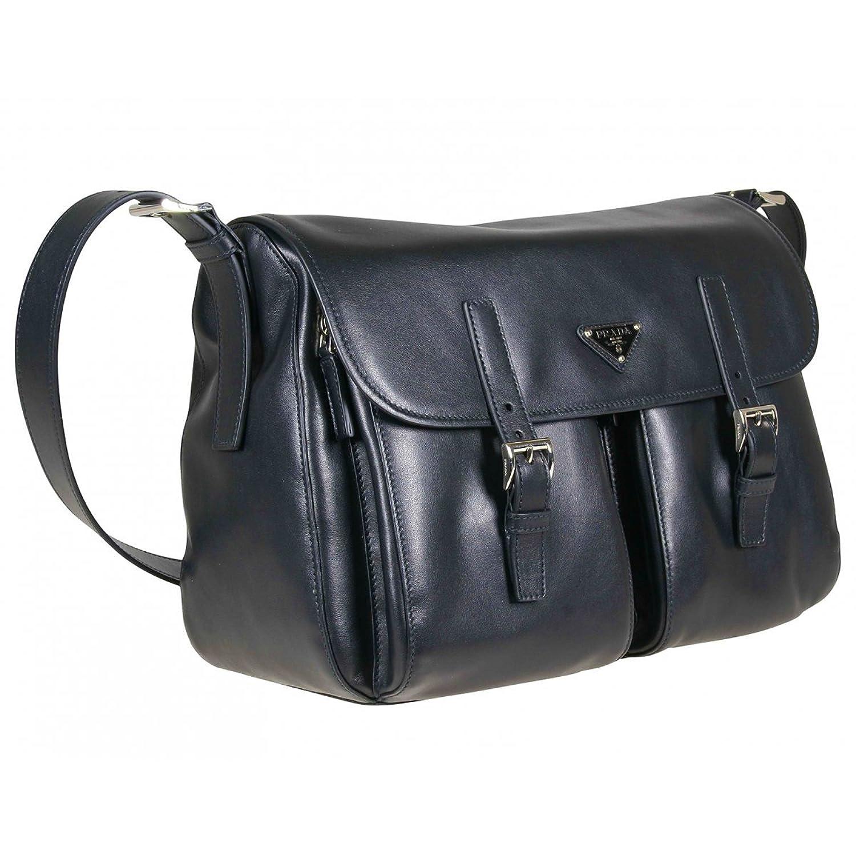 3aa59dec50a1 ... cheapest amazon prada soft calf leather pattina 2 pocket messenger bag  bt989l navy blue messenger bags ...
