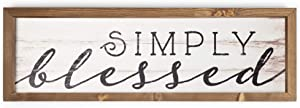 P. Graham Dunn Simply Blessed White Wash 24.6 x 7.8 Inch Solid Pine Wood Farmhouse Frame Wall Plaque