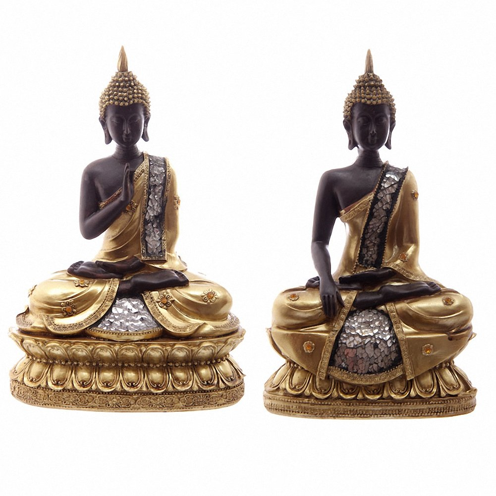 Fine Gifts Uk Thai Buddha Seated Gold Brown & Glass Mosaic 23Cm