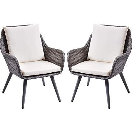 Marvelous Amazon Com Outdoor Wicker Dining Chair Pe Rattan Accent Pabps2019 Chair Design Images Pabps2019Com