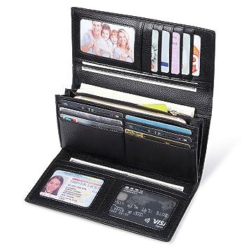 2bf988231debd JEEBURYEE RFID Leder Geldbörse Damen Portemonnaie Clutch mit Knopf Lange  Groß Damen Handtasche Geldbeutel für Frauen