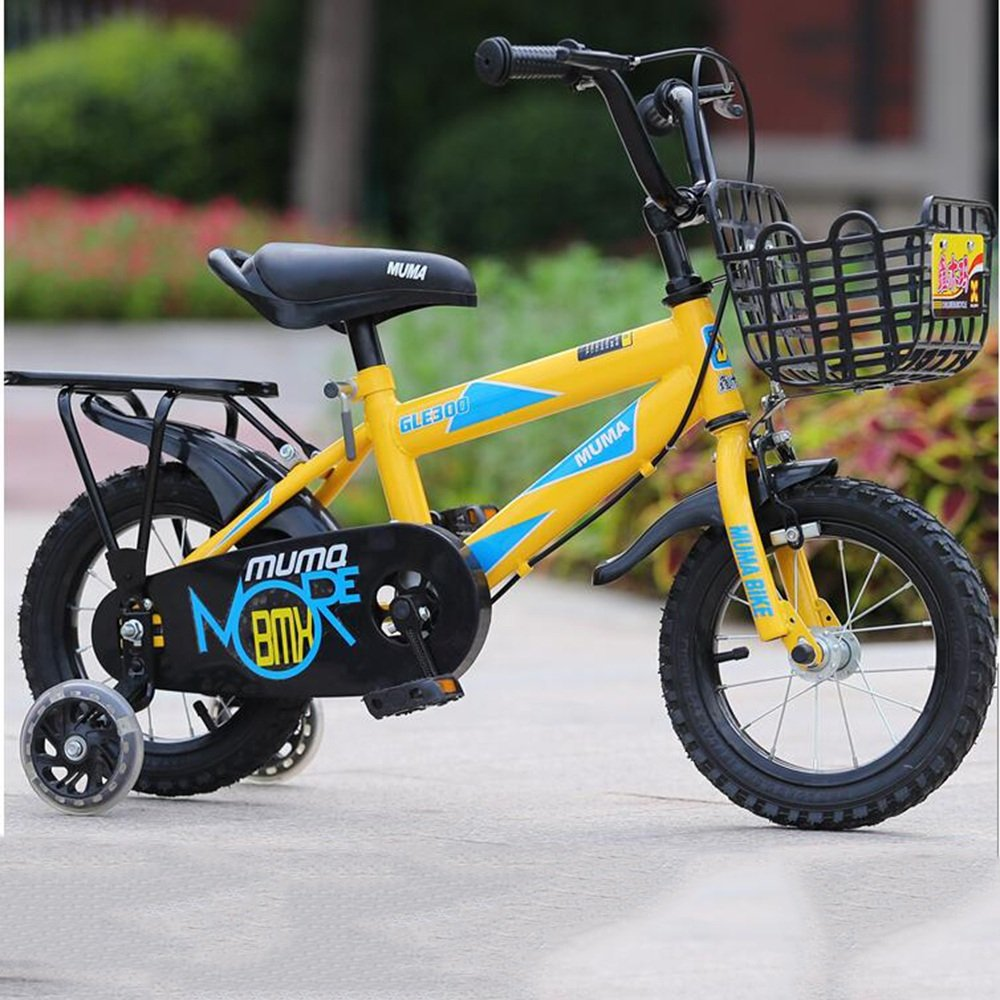 HAIZHEN マウンテンバイク 2-10歳の男の子と女の子の12インチ/14インチ/16インチ/18インチのキッズバイク 新生児 B07C3W4HJM 12 inch イエロー いえろ゜ イエロー いえろ゜ 12 inch
