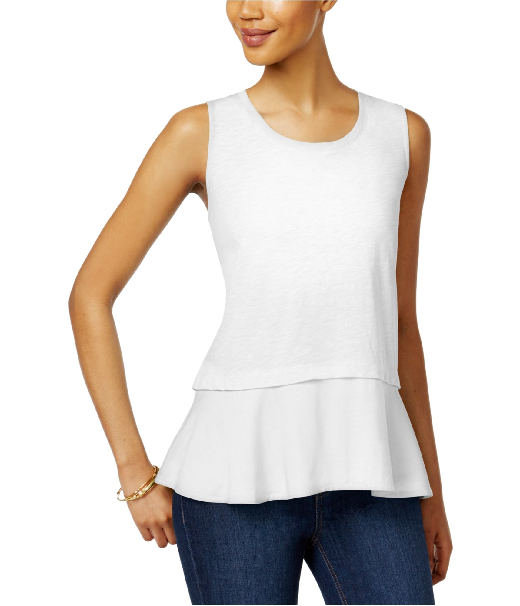 Style & Co. Womens Layered Look Scoop Neck Peplum Top White XL