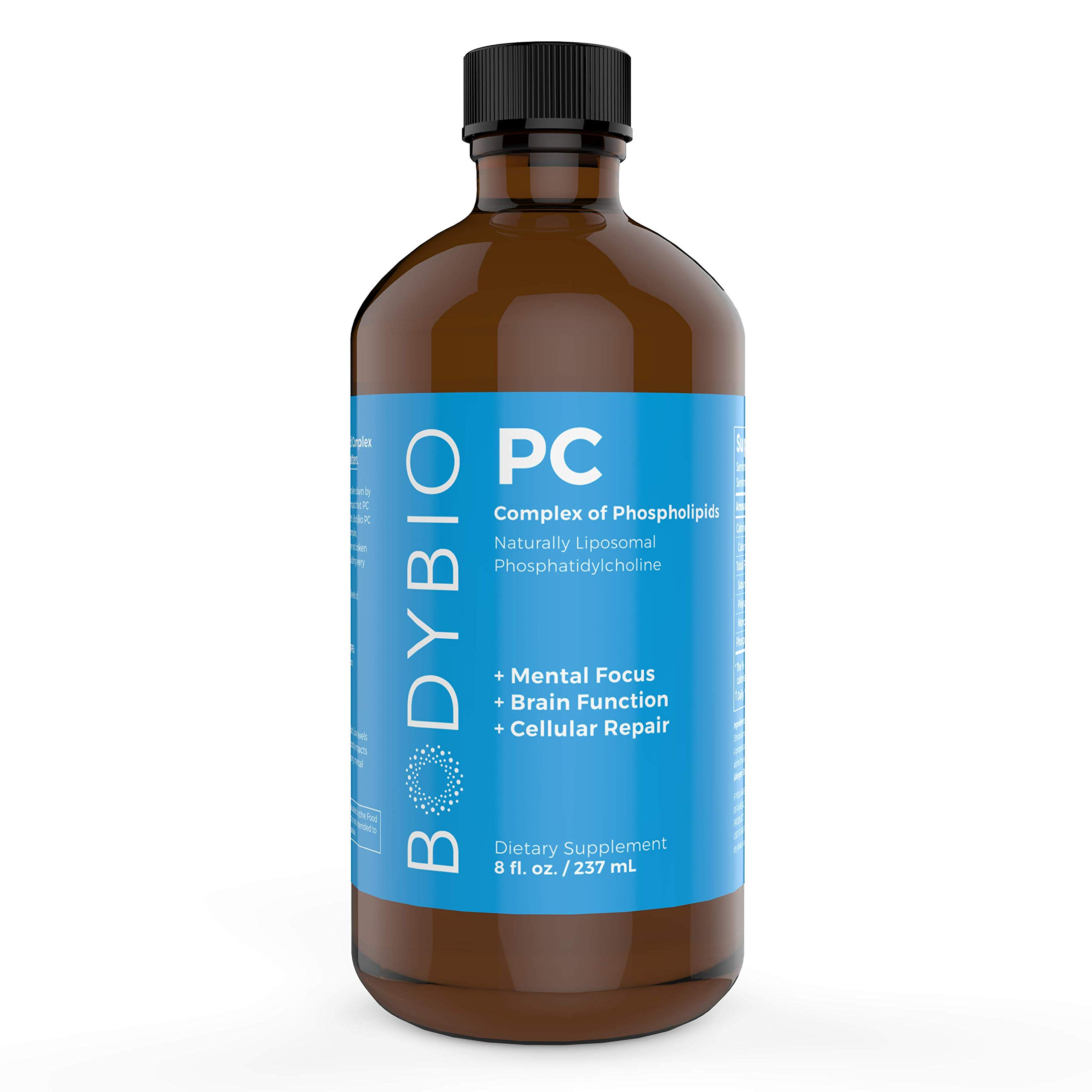 BodyBio - PC Phosphatidylcholine, Liposomal Phospholipid Complex for Cell Health - Enhance Brain Function, Focus, Memory & Clarity - Microbiome Support - Science & Research Backed - 8 oz by BodyBio