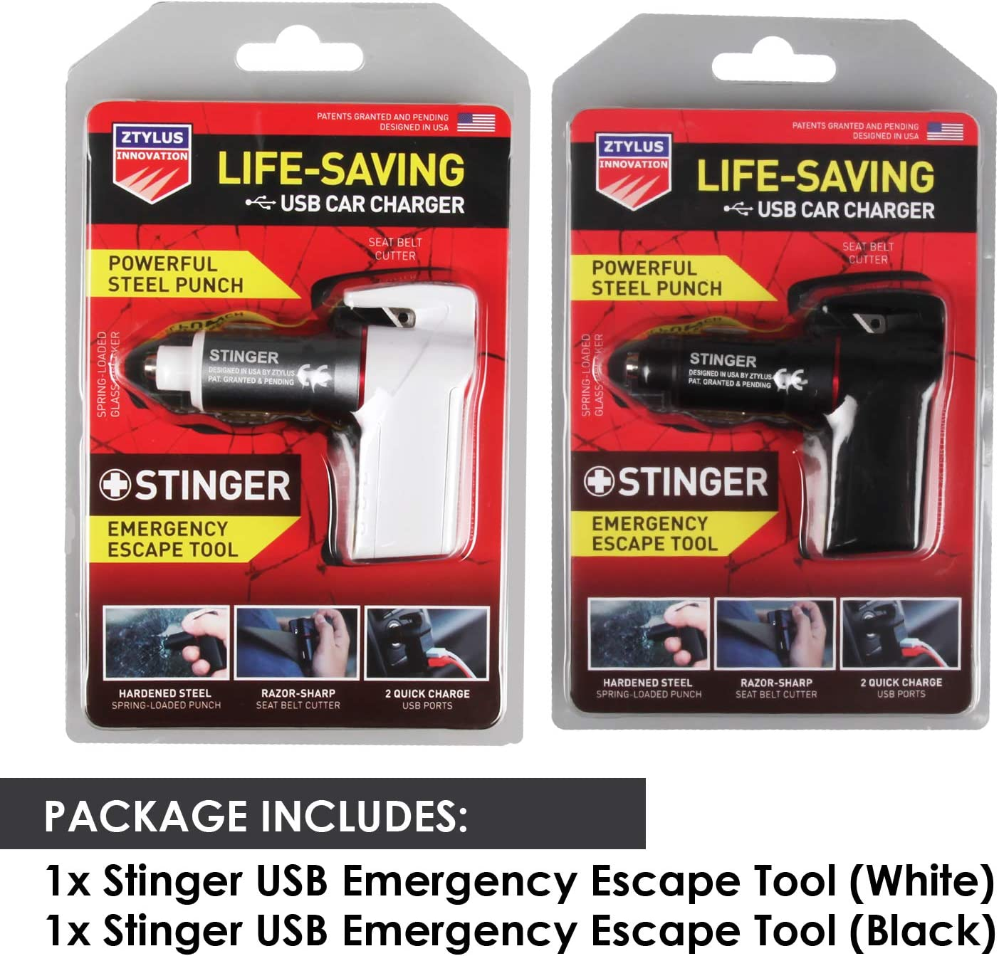 Dual USB Ports Max 2.4A 2 pcs Black Combo Seatbelt Cutter Ztylus Stinger Car Safety Emergency Escape Tool: Life Saving Rescue USB Phone Charger Adapter Spring Loaded Window Breaker Glass Hammer