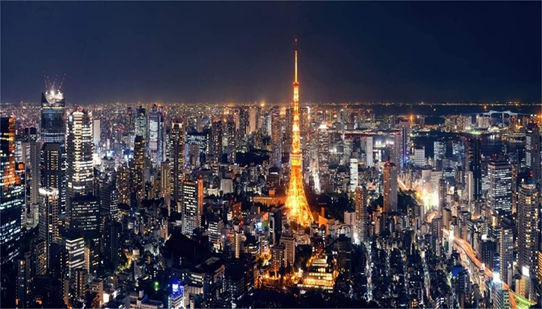 GoHeBe 20x12ft Tokyo Night Skyline Backdrop Vinyl Flourishing Tokyo Metropolis Panorama Cityscape Skyscrapers Shining Tokyo Tower Landmark Background Event Activities Shoot Landscape Wallpaper