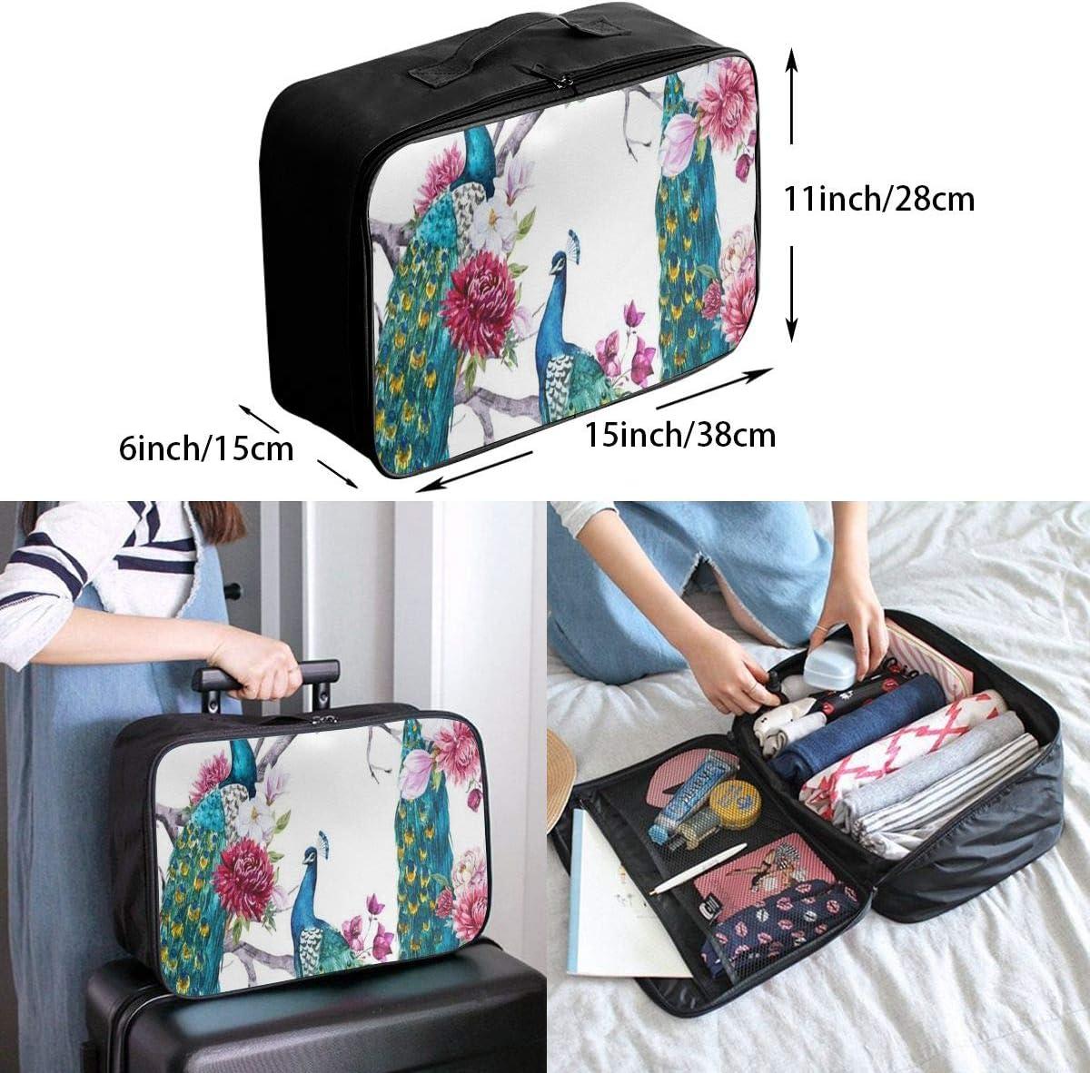 Travel Bags Peacock Sitting Tree Pink Flower Chrysanthemum Flower Pink Peony Portable Suitcase Trolley Handle Luggage Bag