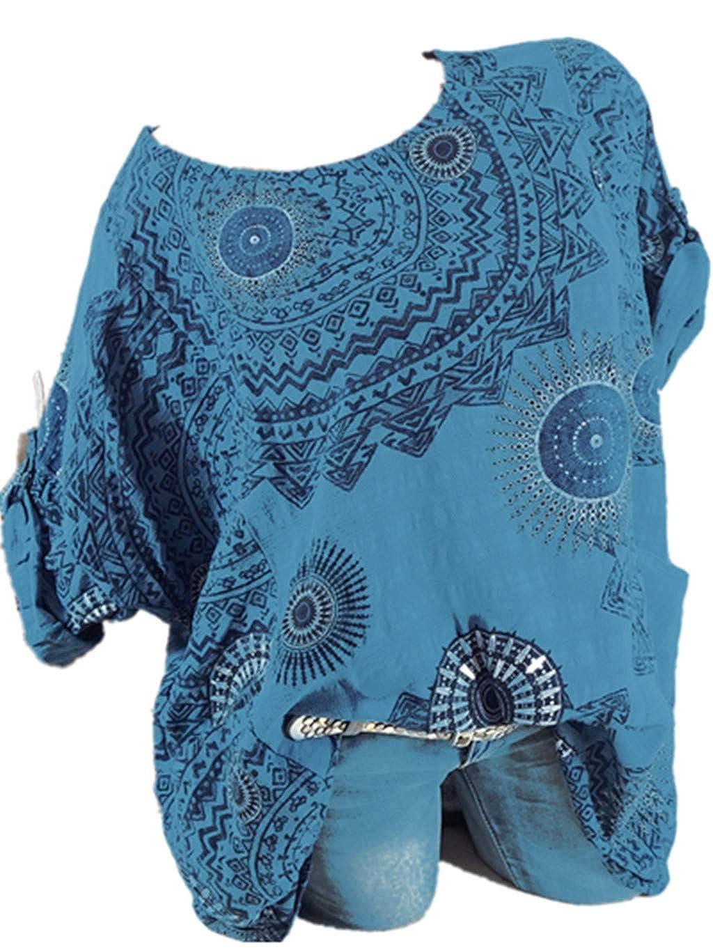 Yvelands Frauen Plus Größe Dreiviertel Ärmel Print V-Ausschnitt Bluse Pullover Tops Shirt