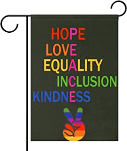 Monaca Love Peace Equality Inclusion Kindness Hope Small Garden Flag Vertical Double Sided 12.5 x 18 Inch Farmhouse Autumn Polyester Yard Outdoor Decor