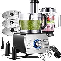 Procesador de Alimentos 1100 W compacto multifunción Robot de Cocina con 3 Velocidades y Función de Pulso, 3,5 L Para…