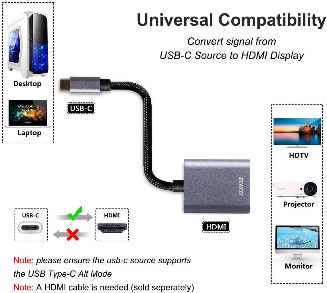 BENFEI USB Typ C Thunderbolt 3 auf HDMI Adapter Kompatibel f/ür iPad Pro 2018//Macbook Pro 2018 2017//Macbook Air 2018//Huawei Mate 20//Samsung Galaxy S8 S9//Dell XPS 13 usw. USB C auf HDMI Adapter