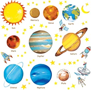 DECOWALL DAT-1307L Planets in the Space Kids Wall Stickers Wall Decals Peel and Stick Removable Wall Stickers for Kids Nursery Bedroom Living Room(Large) décor