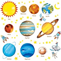 DECOWALL Planetas en el Espacio Vinilo Pegatinas Decorativas Adhesiva Pared Dormitorio Salón Guardería Habitación Infantiles Niños Bebés (1307/L 8007)