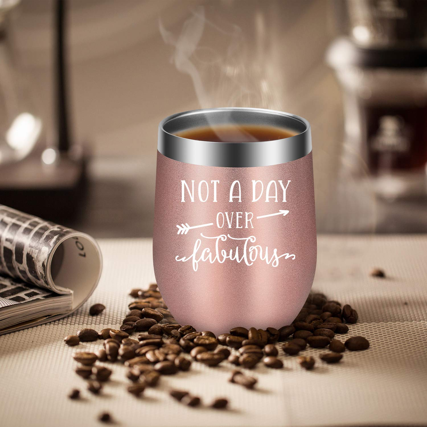 Not a Day Over Fabulous - Fun Birthday Gifts for Women - Funny Birthday Wine Gift Ideas for Her, Best Friend BFF, Mom, Grandma, Wife, Daughter, Sister, Aunt, Coworker - LEADO Birthday Wine Tumbler by LEADO (Image #7)