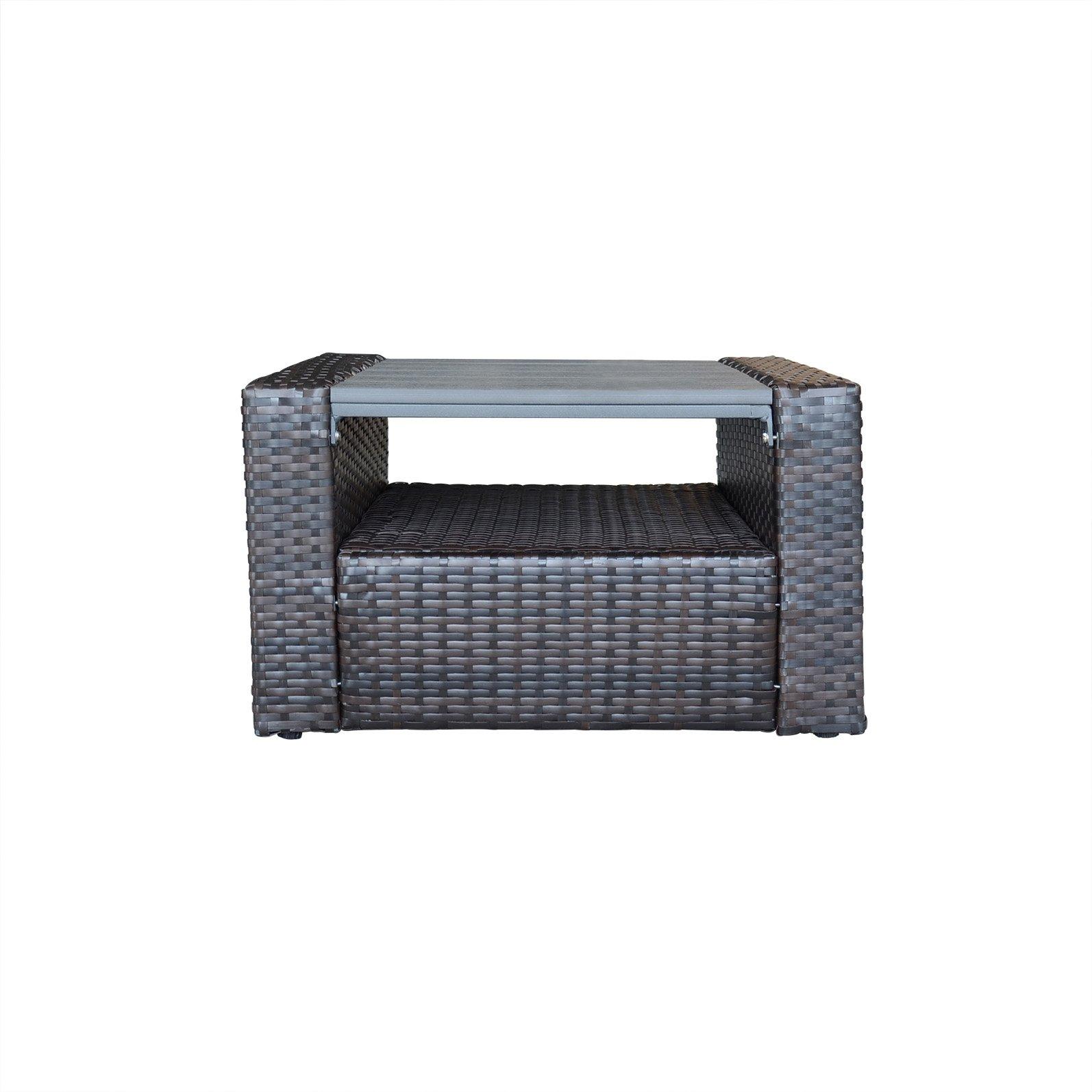 ORNO TTOBE Patio Furniture Square Wicker Coffee Table with Storage Function,Small