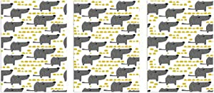 """Interestlee Bathroom Decor Wall Art, Dog Unframed Canvas Print 3 Pcs - Sketch Style Canine with Abstract Yellow Toned Dots Greyscale Cartoon Pets 16"""" x 32"""" x 3pcs Grey Marigold White"""