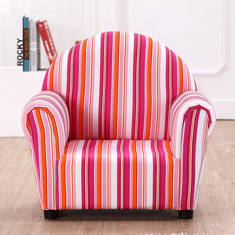 Sofá para niños de madera maciza Mini rayas de colores Sofá de bebé sofá silla extraíble y lavable sofá perezoso (Color : Pink) : Amazon.es: Hogar