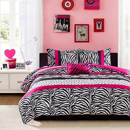 Amazoncom Mi Zone Comforter Bed Set Teen Kids Girls Pink Black