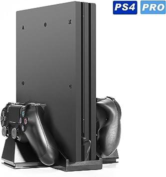 PS4 Pro] Kingtop Refrigeración para PS4 con Dos Ventiladores de Playstation Soporte Vertical Enfriador para los