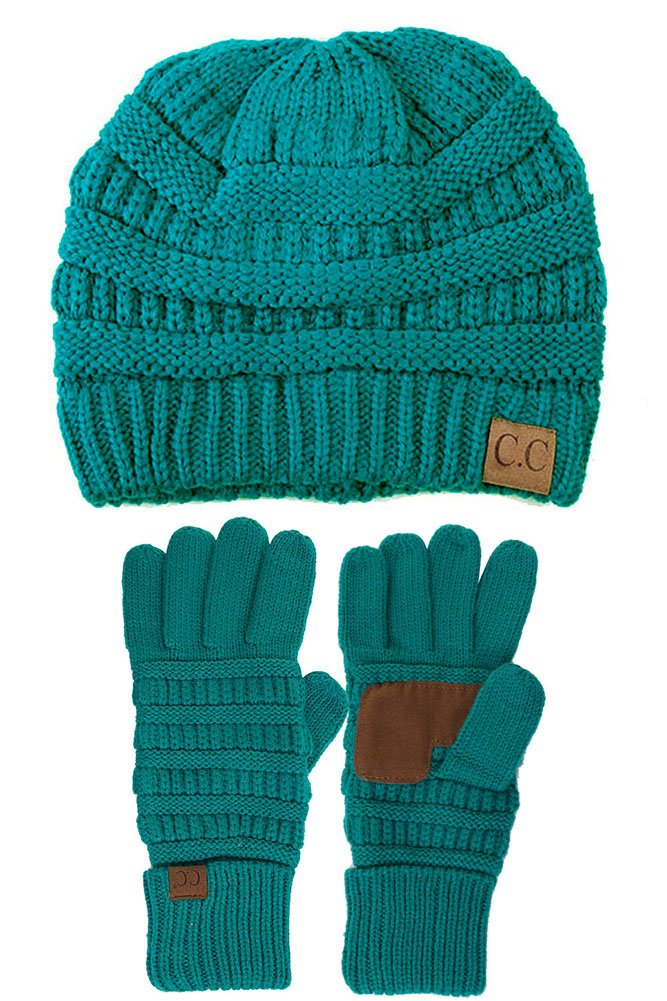 ScarvesMe C.C Trendy Warm Chunky Soft Stretch Cable Knit Beanie and Gloves Set (Sea Green)