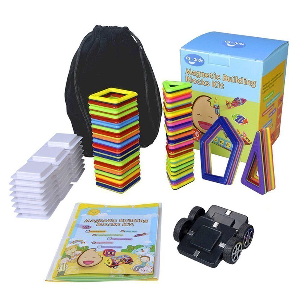Camande Magnetic Building Block Set, Magnet Kids Construction Stacking Toy Rainbow Color for Creavity Educational with Instruction Booklet, Perfect Gift Set (mini size 76)