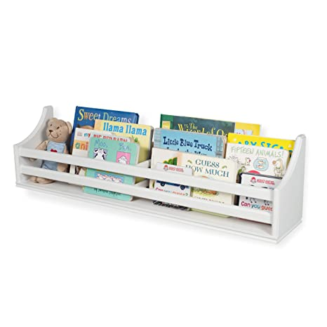 """Childrens Wood Wall Mounted Floating Shelf 30"""" Bookcase for White Nursery Décor Traditional Molding Style - Kids Room Bookshelf Display – Books and ..."""
