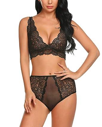 4a02b91e352c0f Lucyme Sexy Dessous Set Spitze Unterwäsche V-Ausschnitt Reizwäsche Set Lace  Bralette Ohne Bügel BH