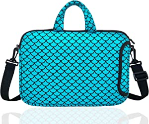 "15.6-Inch Laptop Shoulder Carrying Bag Case Sleeve For 14"" 15"" 15.6 inch Macbook/Notebook/Ultrabook/Chromebook, Mermaid Scale (Blue)"