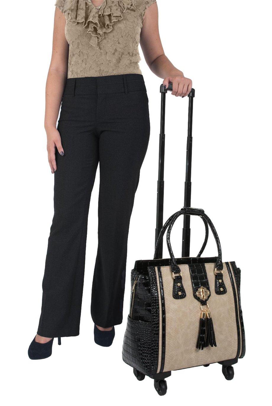 ''THE MONTECITO'' Python & Alligator iPad, Tablet & Laptop Spinner Wheel Carryall Bag