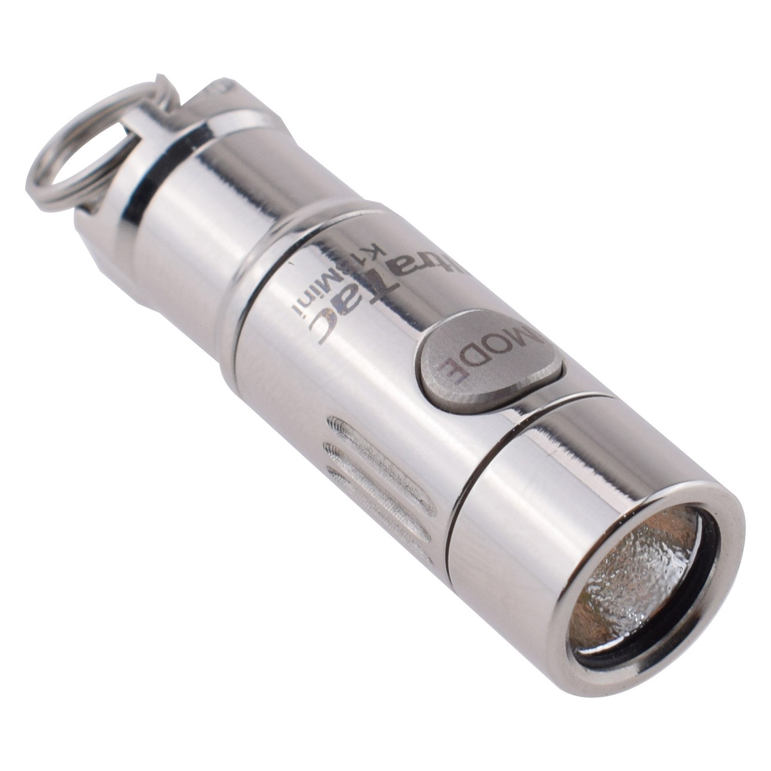 UltraTac K18 Mini Stainless Steel Keychain Flashlight Rechargeable, 130 Lumen Waterproof 2 Light Level + Strobe, Including 10180 Battery and Micro USB Cable
