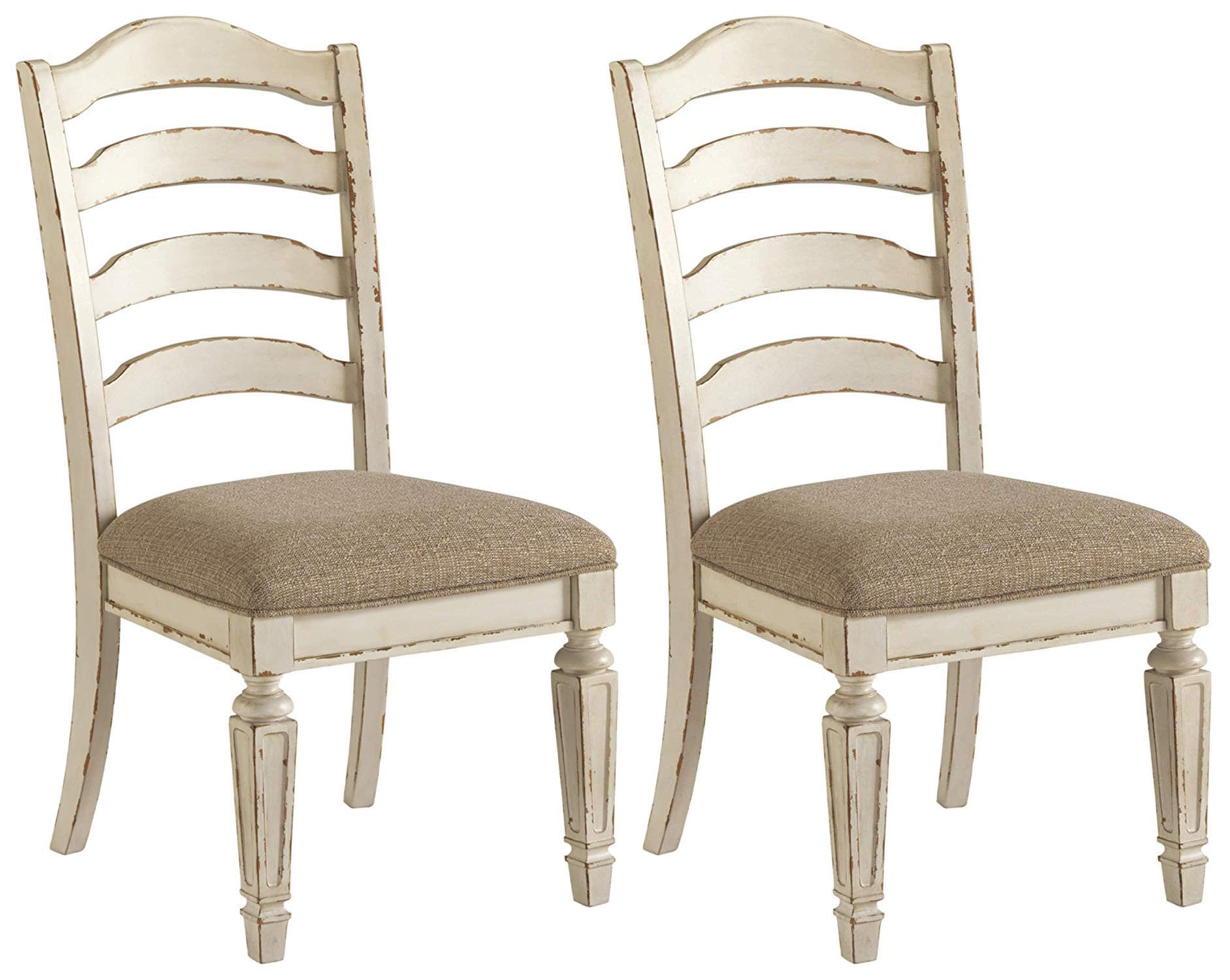 Signature Design By Ashley - Realyn Dining Upholstered Side Chair - Set of 2 - Casual Style - Chipped White by Signature Design by Ashley