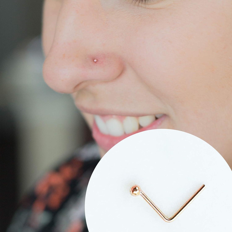 Amazon Com Rose Gold Tiny Ball 22g L Shape Stud Nose Ring Nose