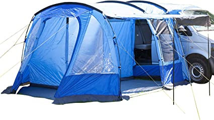 Skandika Aarhus Free-Standing Minivan Awning Travel Tent with Sleeping Cabin and 3000 mm Water Column 2 Persons Blue