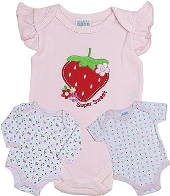 0902ea40d Babyprem Baby 3 Bodysuits Vests Girls Cotton Clothes Strawberry 3-6 ...