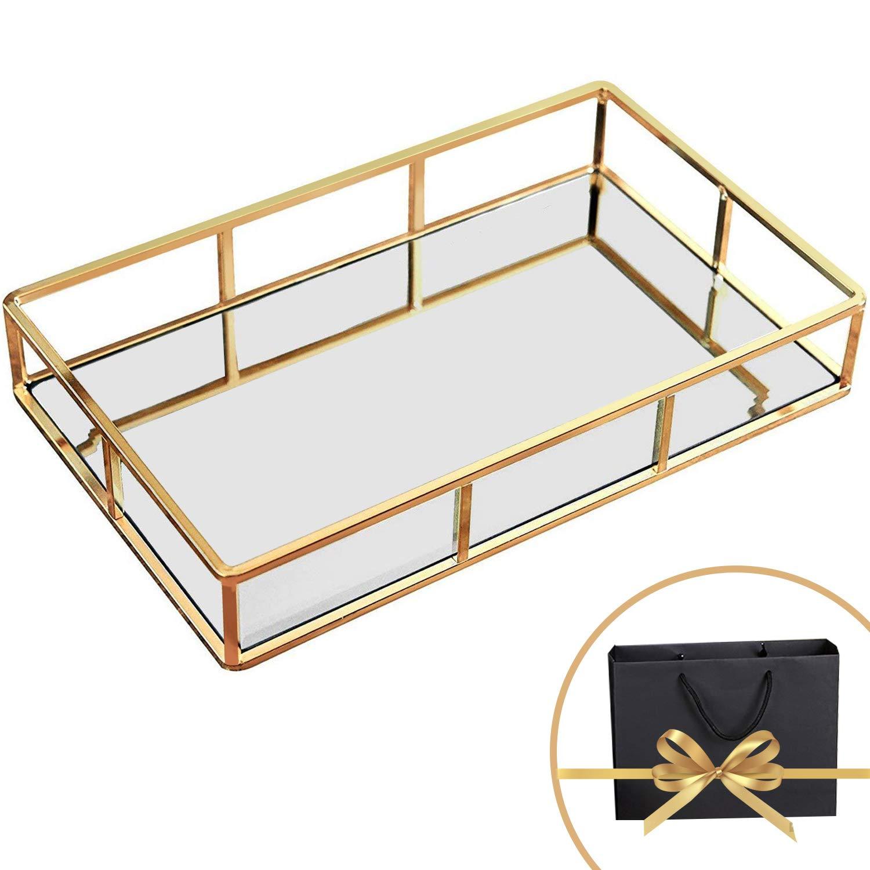 Perfume Organizer, Perfume Tray,Vanity Tray, Jewelry Tray Dresser Tray, Decorative Tray Jewelry Perfume Organizer Makeup Tray Gold Mirror Tray for Vanity, Dresser, Bathroom, Bedroom Gold