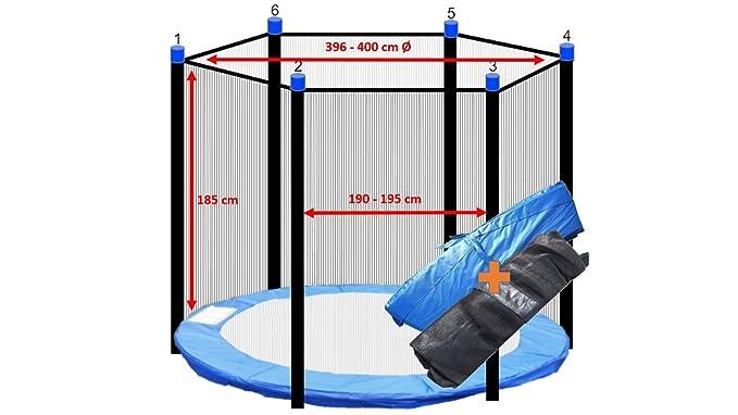 Cama elástica + Red 6 barras de seguridad 250 cm 305 cm 366 cm 400 ...