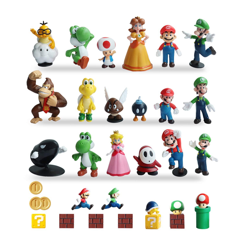 HXDZFX 32 PCS Super Mario Action Figures,Super Mario Bros Toys Figurines Peach Daisy Princess,Luigi,Yoshi,Mario Toys for Boys,Perfect Mario Cake Topper Decorations by HXDZFX