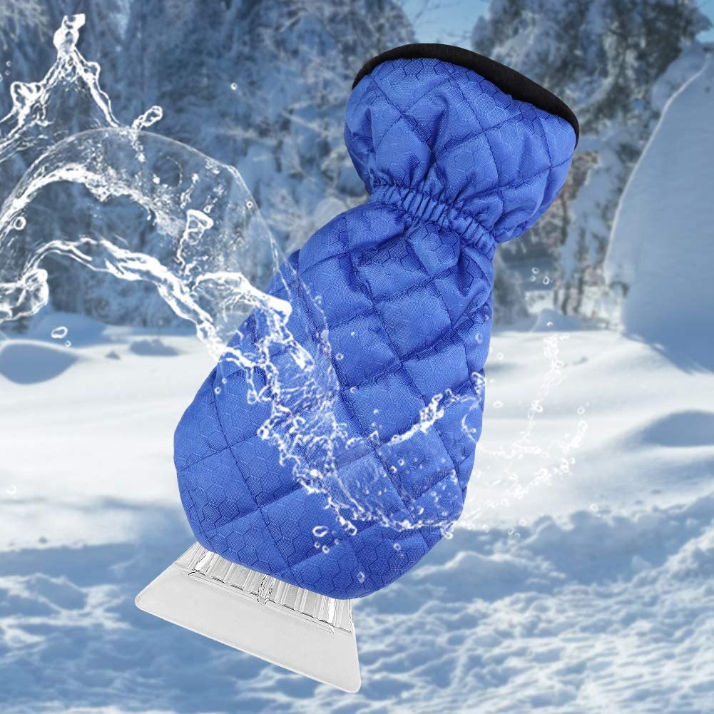 Grafter Ice Scraper for Car Snow Scraper Mitts Windscreen Scraper with Glove with Waterproof Snow Remover Lined of Thick Fleece Window Scraper Blue Mitten