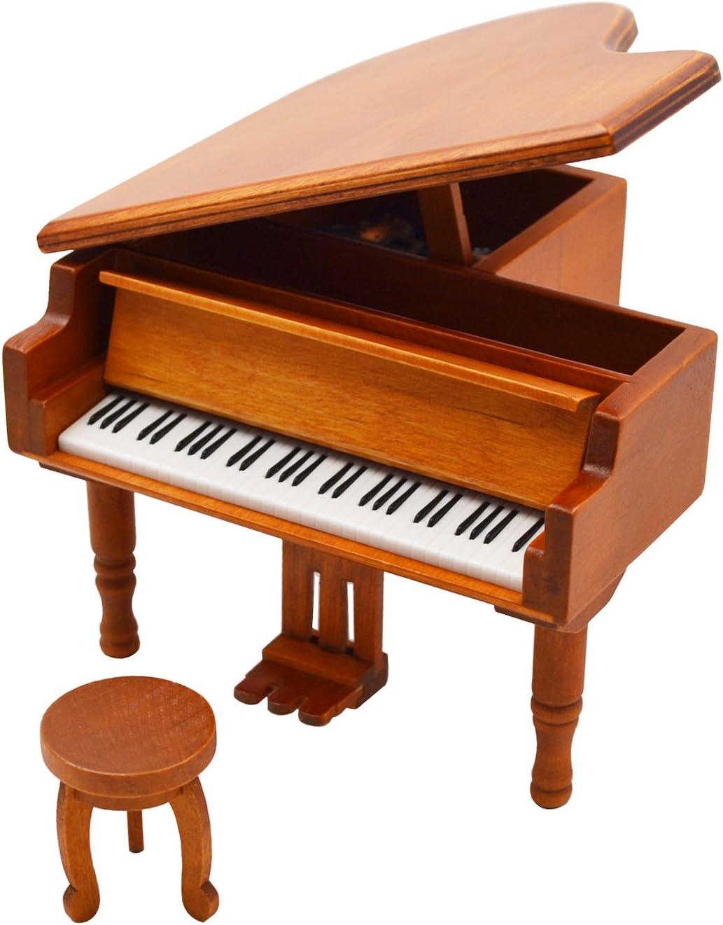 Sound Harbor Piano Model Music Box For Music Lover (Orangered-Piano)