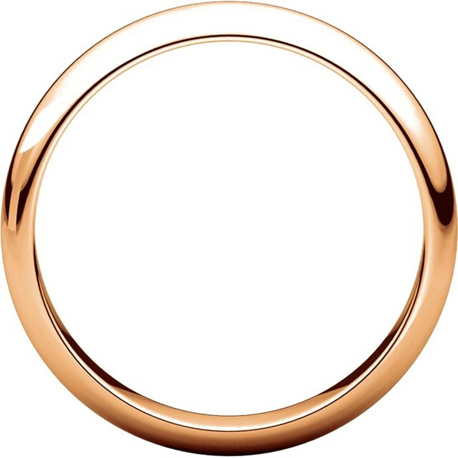 High Dome Mens and Womens 14k Rose Gold Plain Wedding Band 4mm Wide