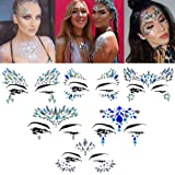 Halloween Face jewels festival Women Mermaid Face Gems Glitter 6 Sets Rhinestone Rave Festival Face Jewels,Crystals Face Stic