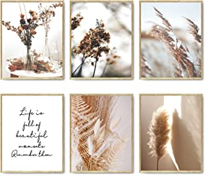 Nature Wall Art Prints Set of 6 Canvas Art Wall Decor Botanical Print Pictures Reed Dried Flower Plant Poster Print Home Decorations for Living Room Wall Decor (8