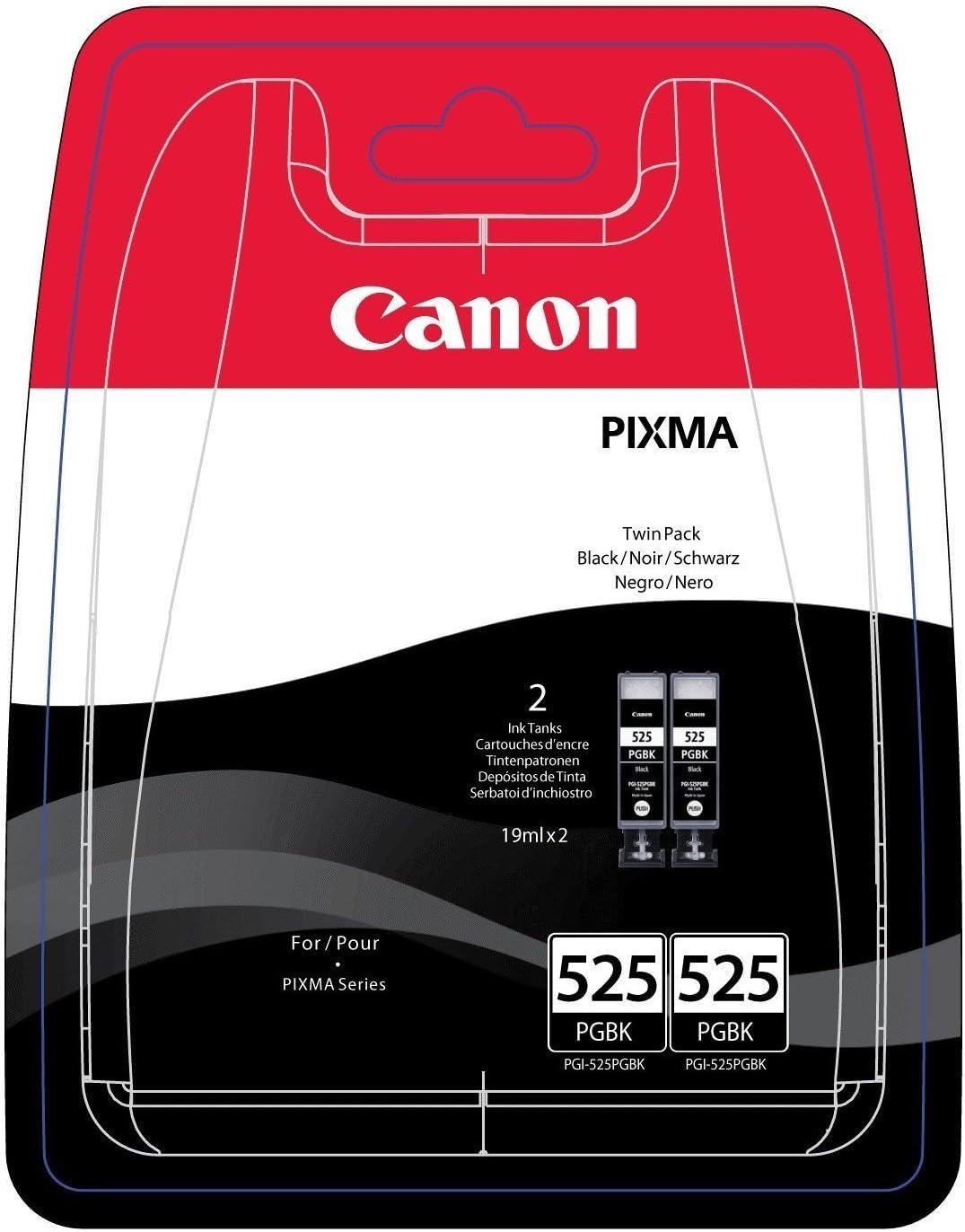 Canon PGI-525 2 Cartuchos Twinpack de tinta original Negro para Impresora de Inyeccion de tinta Pixma MX715-MX885-MX895-MG5150-MG5250-MG5350-MG6150-MG6250-MG8150-MG8250-iP4850-iP4950-iX6550