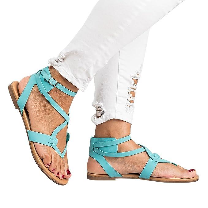 555fc5b22e222 Womens Flip Flops Buckle Strap Summer Beach Flat Gladiator Sandals  Crisscross with Heels