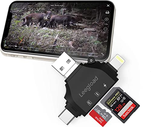 Trail Camera SD Card Viewer for iPhone iPad Android Computer Mac,4 in 1 SD Micro SD Card Reader Trail Camera Viewer to View Wildlife Game Camera Hunting Photos Videos on Phone by LEEGLOAD