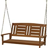 FURINNO Tioman Teak Hardwood Hanging Porch Swing with Chain