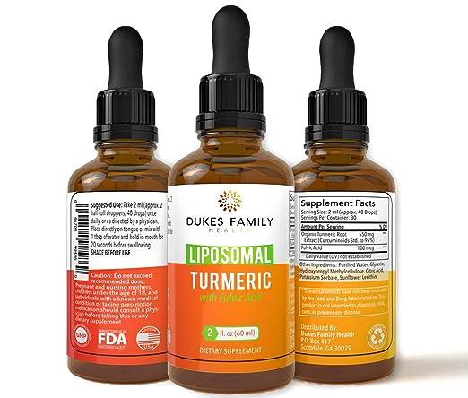 Organic Liposomal Tumeric Curcumin Herbal Liquid Drops | Fights Joint Pain | Natural Anti-Inflammatory, Anti-Aging Antioxidants | Made in The USA