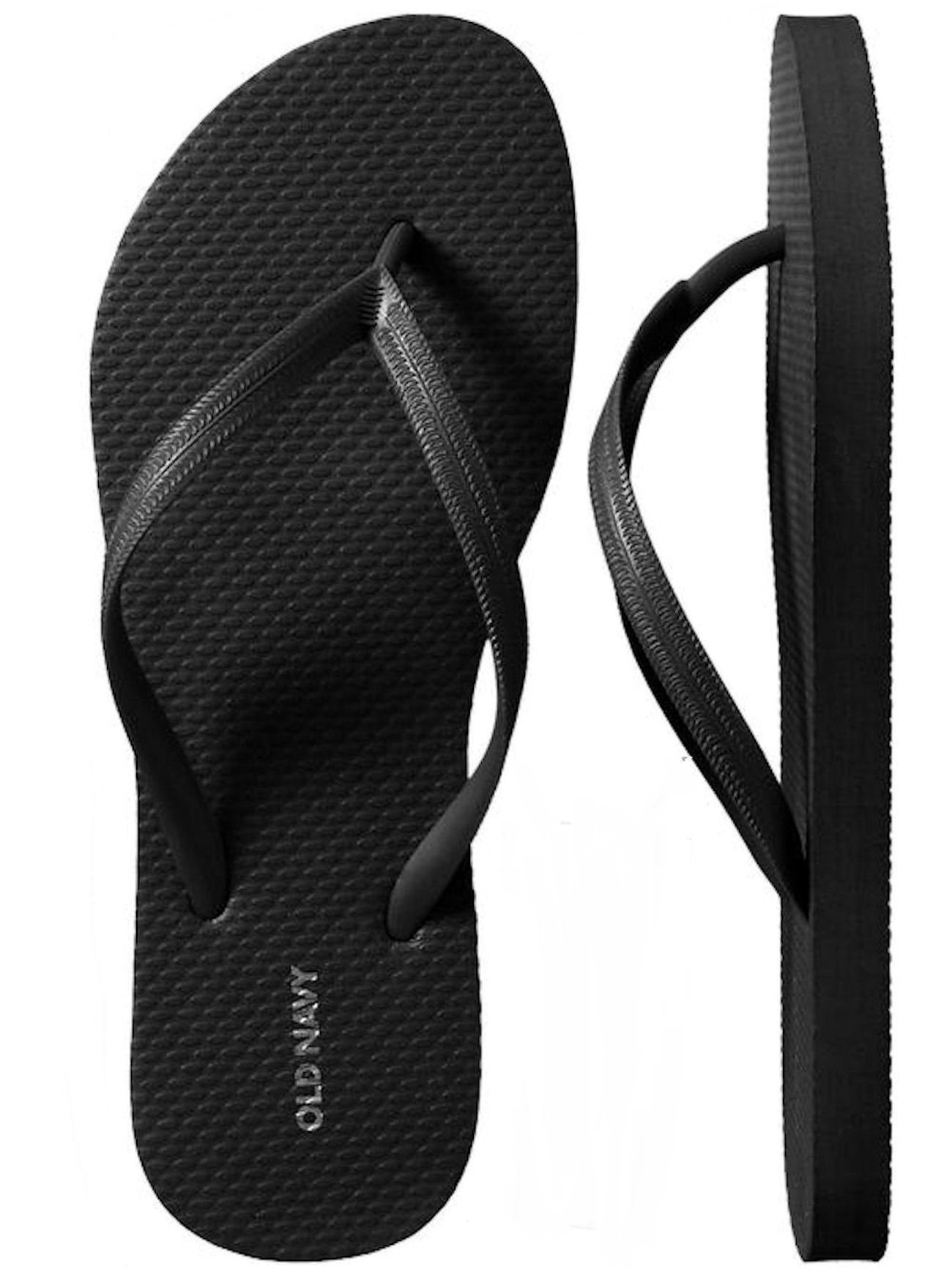 OLD NAVY Flip Flop Sandals for Woman, Great for Beach or Casual Wear (9, Black)