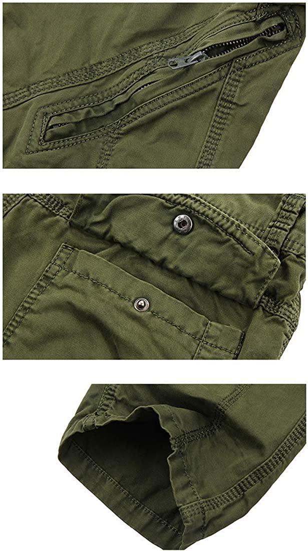 Nidicus Mens Pocket Relaxed Camouflage Work Cargo Pants with Oblique Zipper